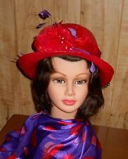"""Red Hat Ladies - Small Red """"Straw Look"""" Hat w/Red Flowers & Purple Feathers"""