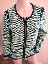 Michael Simon Green Tweed Knit Studded Zip Cardigan Sweater M