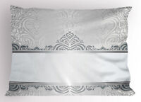 Silver Pillow Sham Vintage Rich Flowers King Size Pillowcase 36 x 20 Inches