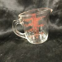 Vintage PYREX Clear Glass Red Letter Closed D Handle Measuring Cup 8oz 508