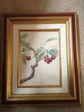 1927 Artist RARE Signed Art Painting~Study O'Cherries~Red Cherry Tree Watercolor