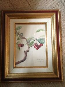 Rare 1927 Old French Signed Art Painting~Study Of Cherry Tree~Paris Watercolor