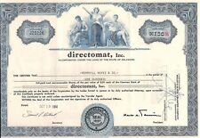 Vintage stock certificate Directomat, Inc. 1960's (subway) state of Delaware
