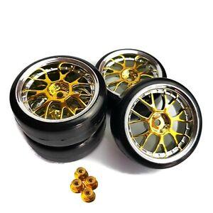 1/10 RC Drift Wheels Gold Y Spoke Tamiya TT02 TT02D TT01 Kyosho Fazer HPI