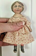 "Tiny 4 ½"" doll Art Fabric Mills repro printed cloth doll dollhouse size handmade"