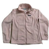 Columbia Small Women's Fleece Full Zip Jacket Pink Zip Pockets Drawstring Waist