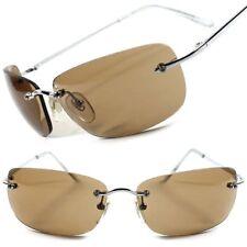 Stylish Fashion Brown Lens Frameless Designer Wrap Rectangle Brown Sunglasses
