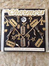 Old Vending Display Metal RAZOR BLADE Charms Fish #1 Star Arrow Question