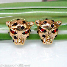 Navachi Cheetah Leopard Head Enamel 18K GP Crystal Earrings Ear Stud BH1047