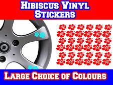 Hibiscus Flower Alloy Wheel Vinyl Sticker Decals x 42 - for Car Camper Surf etc