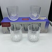 4 Crystal Rocks Glasses Cristal D'Arques Paris Longchamp Used in Box 24% Pb