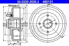 2x Bremstrommel für Bremsanlage Hinterachse ATE 24.0220-3020.2