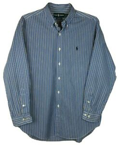 Ralph Lauren Classic Fit Men's (16/L) Blue w/Black & White Stripes Button Shirt