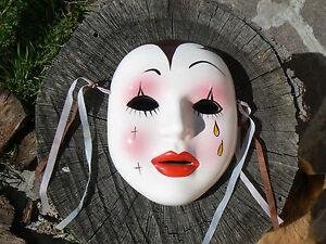 NUOVO Maschera Pierrot in porcellana da appendere 5