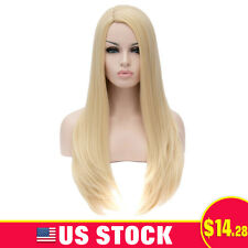 Womens Blond Long Straight Synthetic Heat Resistant Cosplay Party Hair Wig