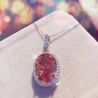 18K Rose Gold Filled Made With Swarovski Crystal Oval Cut Champagne Necklace