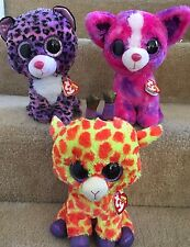 "Ty Beanie Boo Lot of 9"" Justice Exclusives, Dakota Dog, Jewel Leopard, & Darci"