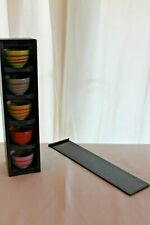 STARBUCKS RARE COLORFUL TEA CUPS with wooden box 5 sets