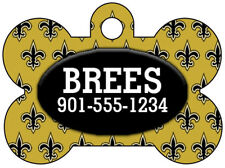 New Orleans Saints Personalized NFL Dog Tag Pet ID w/ Your Pet's Name & Number