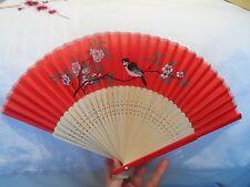 Rosso Rosa Nero Verde Carta cinese in legno Fan Bird Cherry Blossom