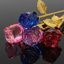 24K Crystal Gold Plated Dipped Rose Flower Forever Love Stem Gifts Women Decor