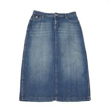 Cato Denim Jeans Skirt 14 Long Stretch A-Line Back Slit Distressed with Fading