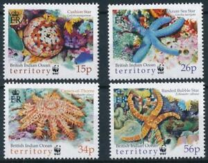 SEA STARS 2001 BIOT MARINE LIFE (4v.) WWF MNH £9