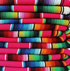 Artisan Falsa Mexican Blanket Saltillo Serape Yoga Throw Made in Mexico X-Large