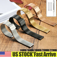 14mm-22mm Stainless Steel Metal Strap Watch Band Thin Mesh Belt Men Women W Tool