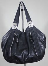 B. Makowsky Large Black Leather Shoulder Bag-Snakeskin Pattern