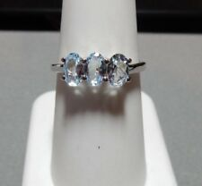 Size 8 Genuine Aquamarine Sterling Silver Three Stone Ring 1.26cts