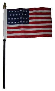 "27 Star Linear USA 4""x6"" Flag Desk Set Table Wooden Stick Staff"