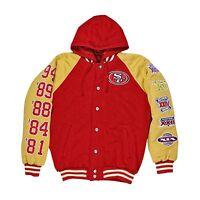 NFL Mens 49ers Super Bowl Champion Red Gold Football Letterman Jacket