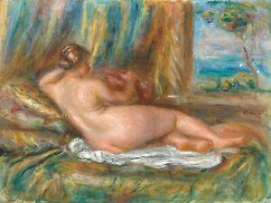 "Reclining Nude (1860) Signed Auguste Renoir - 17"" x 22"" Fine Art Print - 00942"