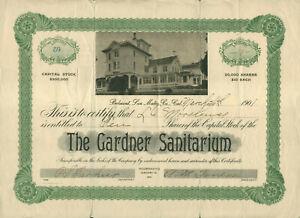 1901 GARDNER SANITARIUM BELMONT CALIFORNIA ISSUE #59 STOCK CERTIFICATE