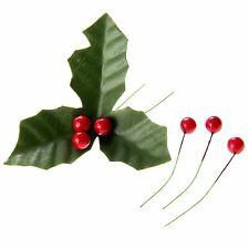 50x Dark Red Artificial Holly Berries 50x Green Artifical Leaves Christmas Décor