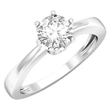 Round Solitaire Engagement Diamond Ring 0.75 CT Solid 14kt White Gold D/VVS1