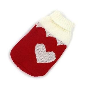 Arthemis Clothing Sweater -- Heart Cat Dog Pet Sweater in Red (Medium)