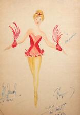 1961 Girl ballet dancer costume design watercolor drawing signed