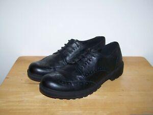 GEOX RESPIRA J6420N Black Leather Brogues Womens Flat Shoes UK-4 EU-37