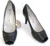 UNISA Escarpins talons 9.5 cm + plateau bouts ouverts cuir gris 40 COMME NEUF