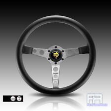 MOMO PROTOTIPO Silver Spoke 350mm Tuning Steering Wheel + Horn - Black Leather