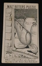 Trade Card Malt Bitters - A Food And A Medicine - Puzzle Card - Where Is The Rat