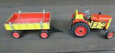 Vintage Tin Toy Wind-up Tractor & Trailer Zetor w/ Key