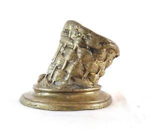 AUGUSTE CAIN (1821-1894) ANTICA SCULTURA IN BRONZO VASO FIRMATO DORATO BM1