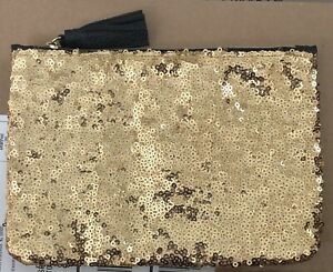 IPSY Gold Sequin with Black Fringe Zipper Glam Makeup Cosmetic Case BAG ONLY New