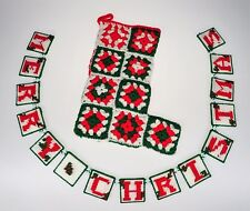 Merry Christmas Reversible Happy New Year Sign Granny Square Stocking Holiday