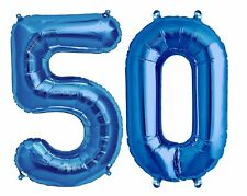 "Big 40"" 50 Blue Foil Number Balloons Photo Shoot 50th Birthday Float Helium USA"