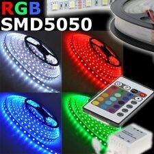 TIRA LED ADHESIVO SMD LUZ MULTICOLOR SMD5050 BOBINA 5 MT 300 LED RGB IP65 + RC