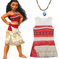 Girls Kids Moana Princess Cosplay Costume Fancy Dress Necklace Halloween Outfits
